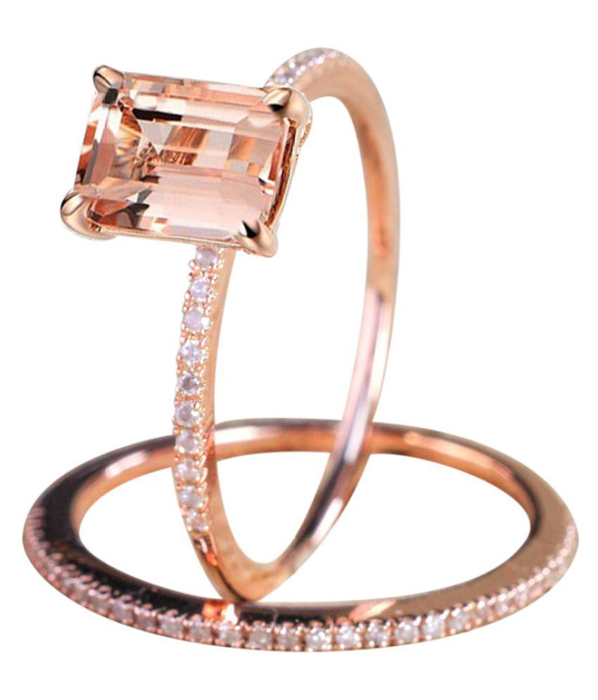 Rose Golden Color gagement Ring With A Fine Small Square Zircon Ring Fashion Jewellery