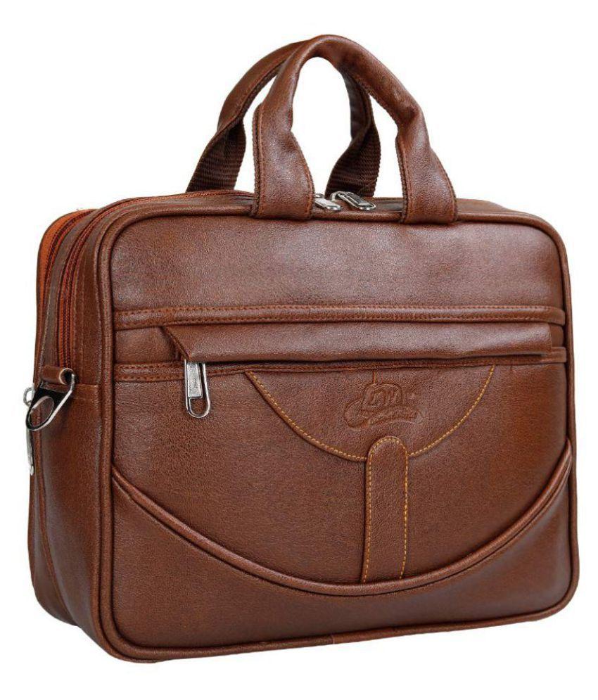 Leather Gifts Macbook tablet Bag Tan P.U. Office Bag