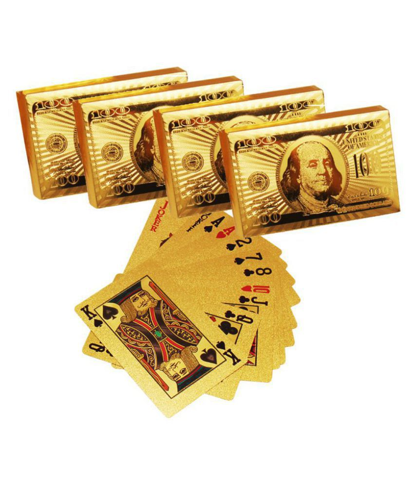 Luxantra 24 K Gold Plated Poker Playing Cards Set of 4
