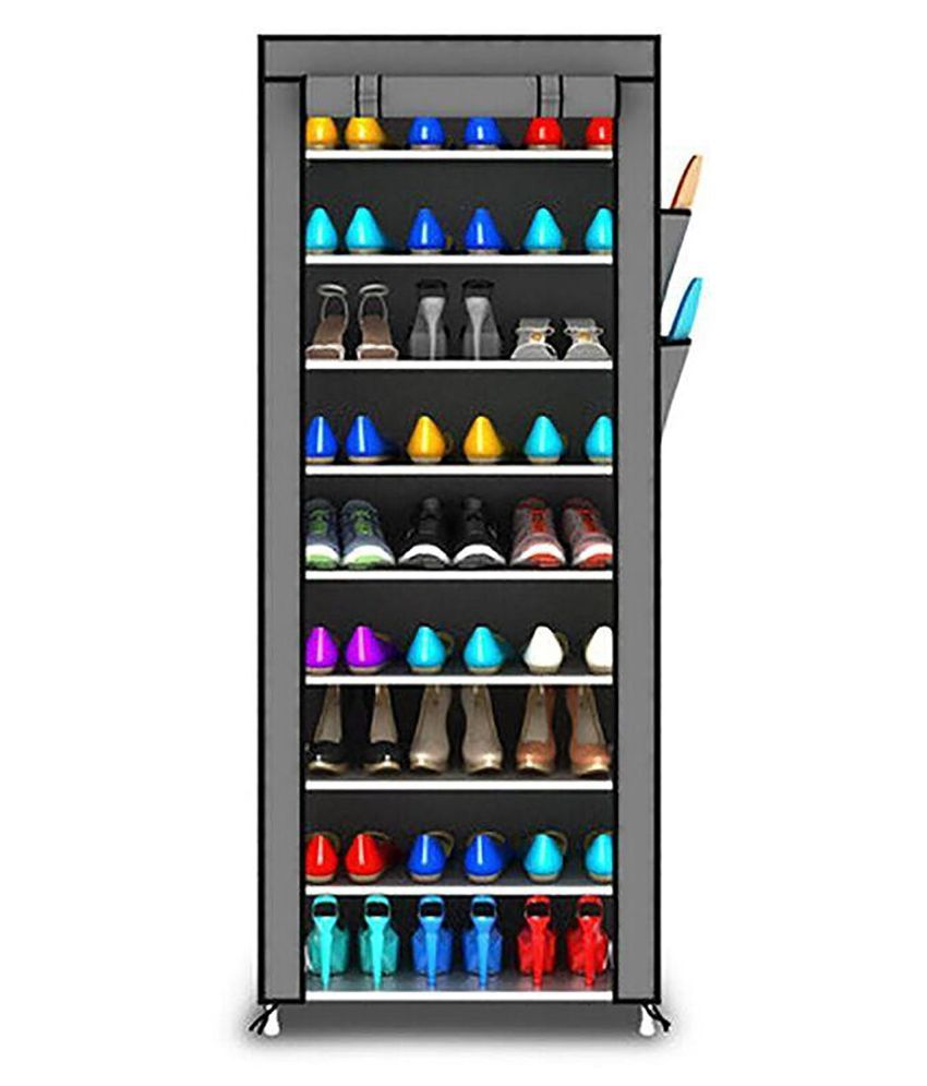 Sasimo Shoe Racks for Home 9 Tiers Multi-Purpose Shoe Storage Organizer Cabinet Tower with Iron and Nonwoven Fabric with Zippered Dustproof Cover (Shoe Racks for Home)