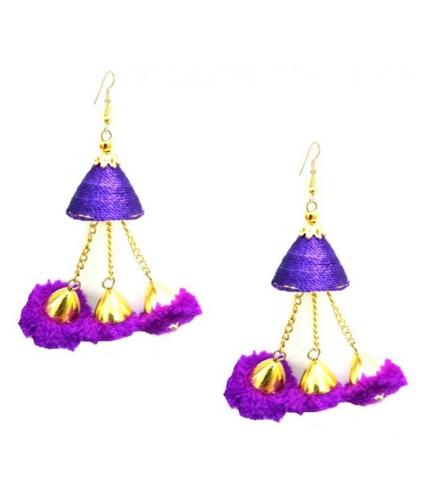 Zaffre Pom Pom Silk Thread Jhumki   Purple Alloy Dangle Earring