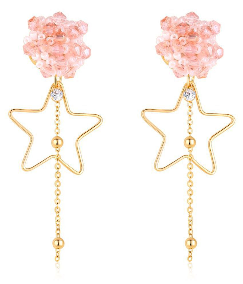 Jewels Galaxy Luxuria Ravishing Star Design Onyx Studded Chain-Drop Delightful Colorful Earrings For Women/Girls
