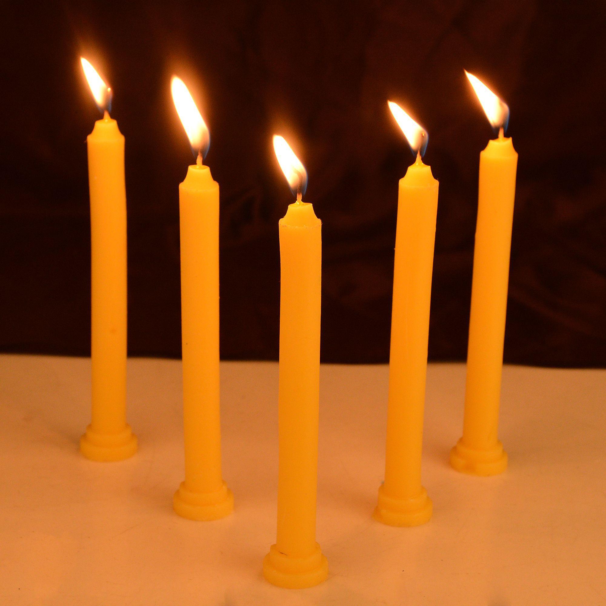 Rajrang Yellow Pillar Candle - Pack of 10