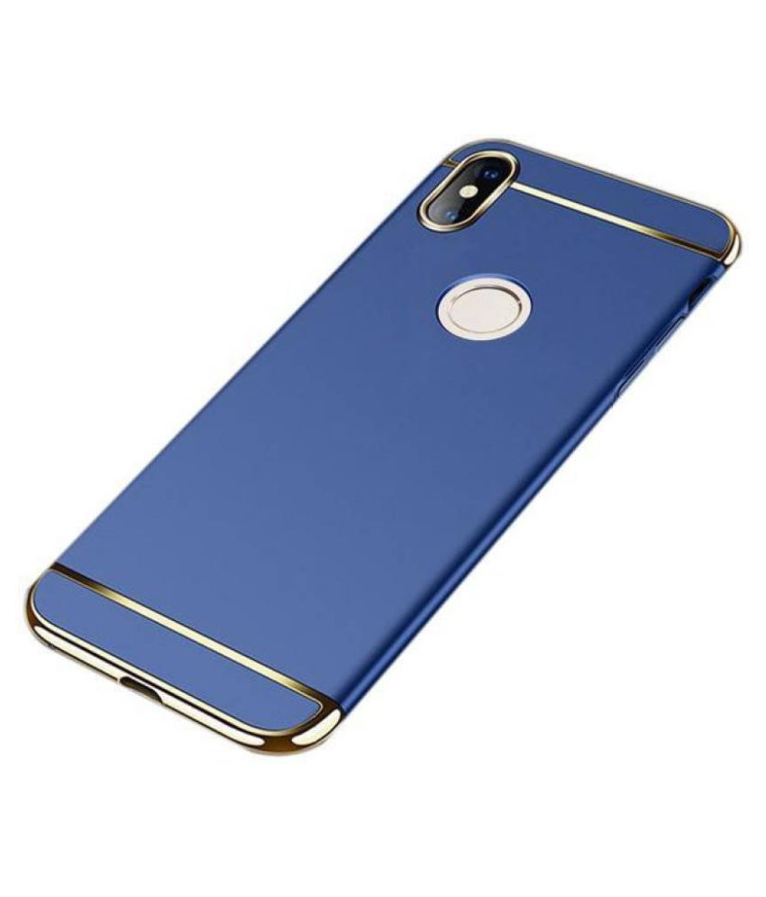 Samsung Galaxy A30 Plain Cases KOVADO - Blue 3 In 1 thin chromium glossy finish back cover