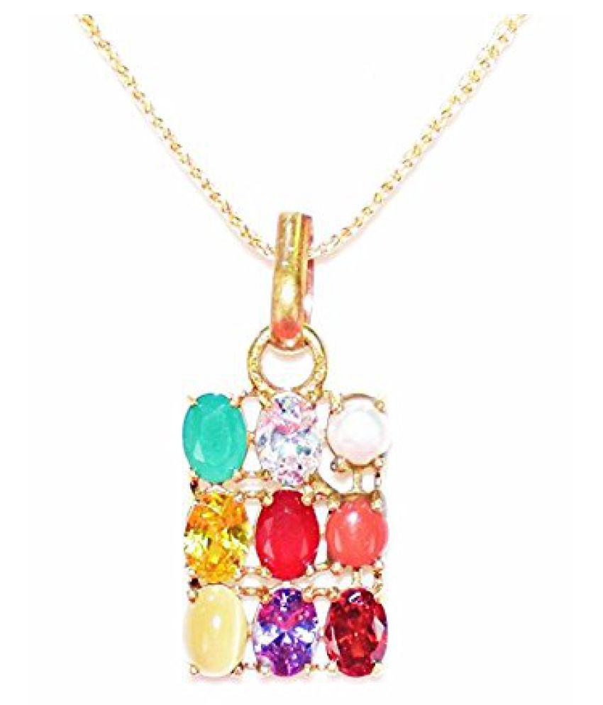 Navaratan Gemstone pendant / Navrtna pendant with Original semi precious gemstones / Nine gemstones for Nine planet / Unique Design pendant
