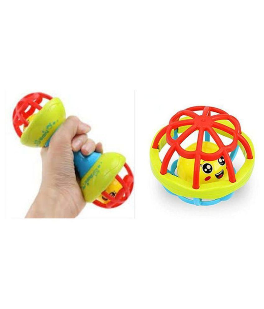 Creative Kids Combo Of Colorful Rattle Ball & Dumbbell For Babies