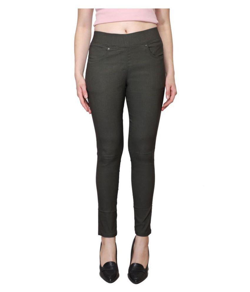 Westwood Cotton Lycra Jeggings - Green