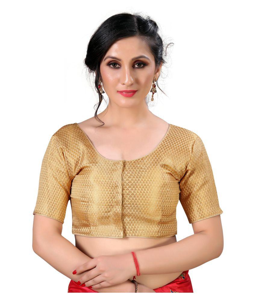 Amrutam Fab Beige Silk Semi Stitched Blouse