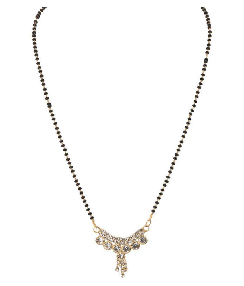Arafa Jewellery Australian Diamond Design with Black Bead Chain Golden 9 inch Mangalsutra for Women Attractive Look