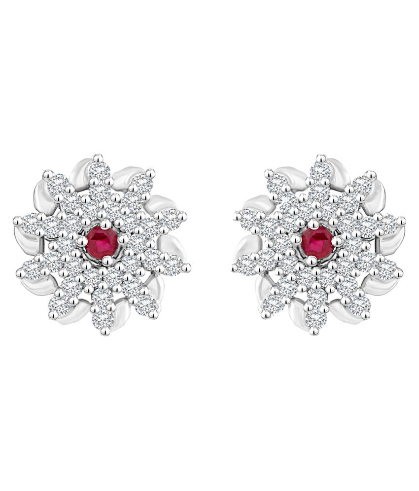 MFJ Fashion Jewellery Common Brass Rhodium Plated Stud Earring For Women