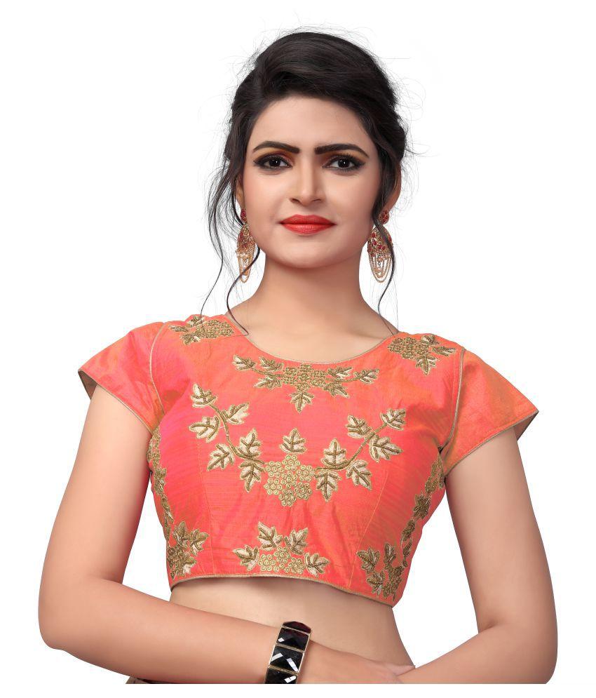 Shubh Sanidhya Orange Silk Readymade with Pad Blouse