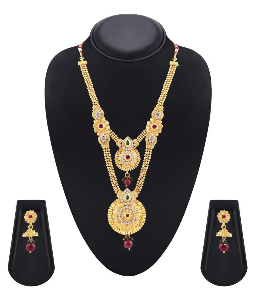 MFJ Brass Golden Long Haram Traditional Gold Plated Necklaces Set