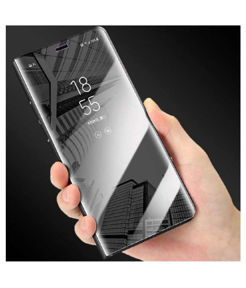 Redmi 6 Flip Cover by Doyen Creations - Black Black Clear View Mirror Flip Case With Media Stand