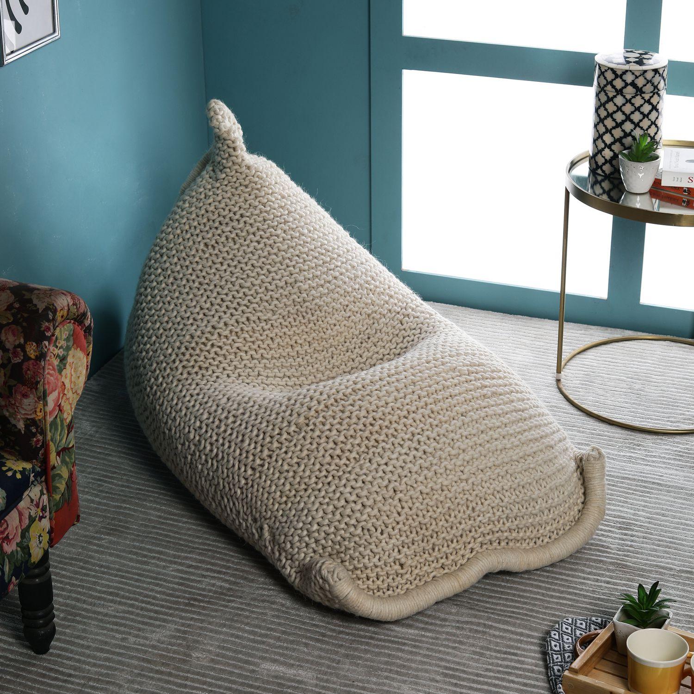 Wondrous Pequra Grey Woollen Hand Knitted Textured Bean Bag Ncnpc Chair Design For Home Ncnpcorg