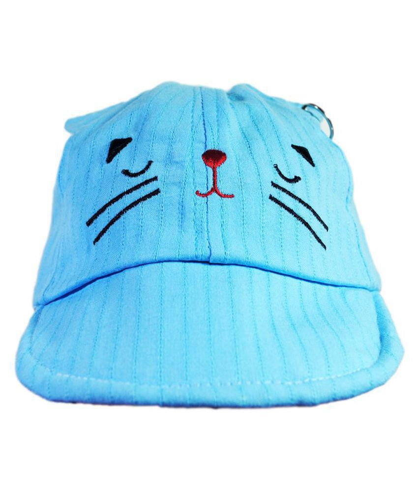 Girls Blue Embroidered Cotton Cap