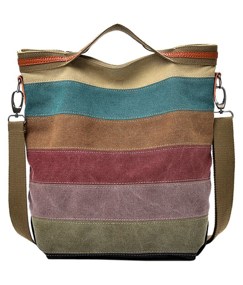 Pouches Bags and Storage for Your Fashion Needs Multicolor Casual Women Canvas Splice Stripe Crossbody Bag Shoulder Bag Handbag Totes