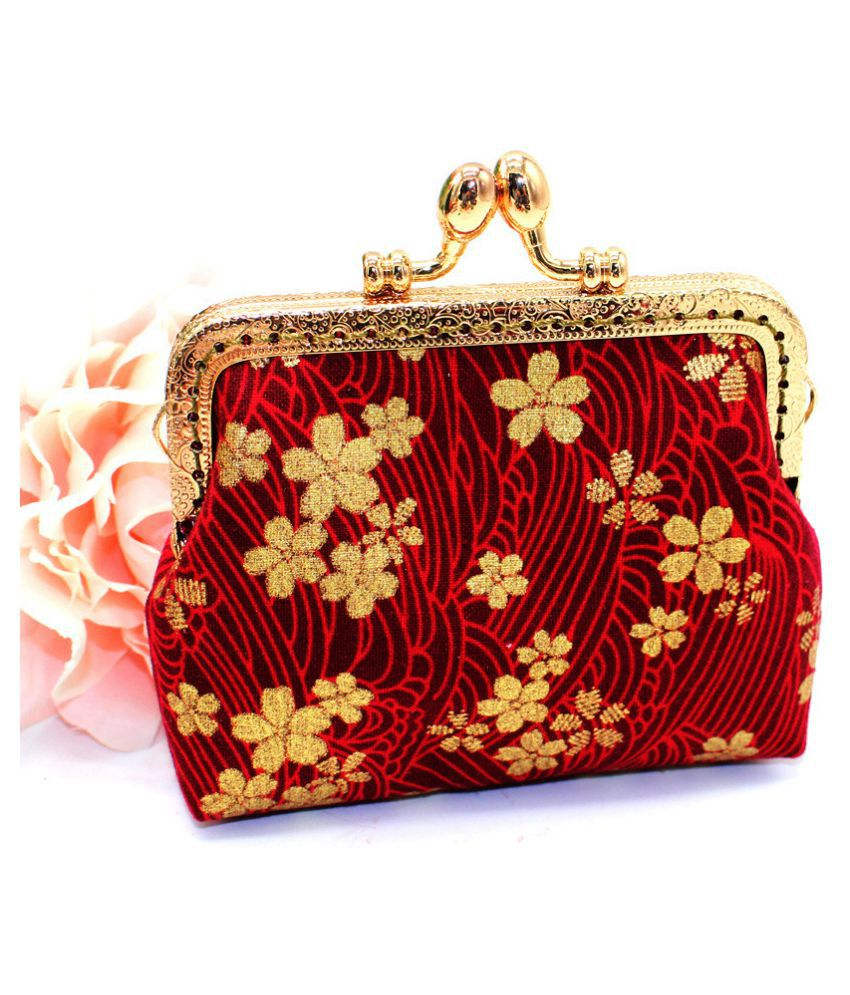 Pouches Bags and Storage for Your Fashion Needs Red Women Girls Printing Flower Snacks Coin Purse Wallet Bag Change Pouch Key Holde