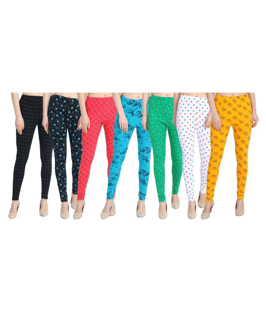 Diaz Cotton Lycra Pack of 7 Leggings