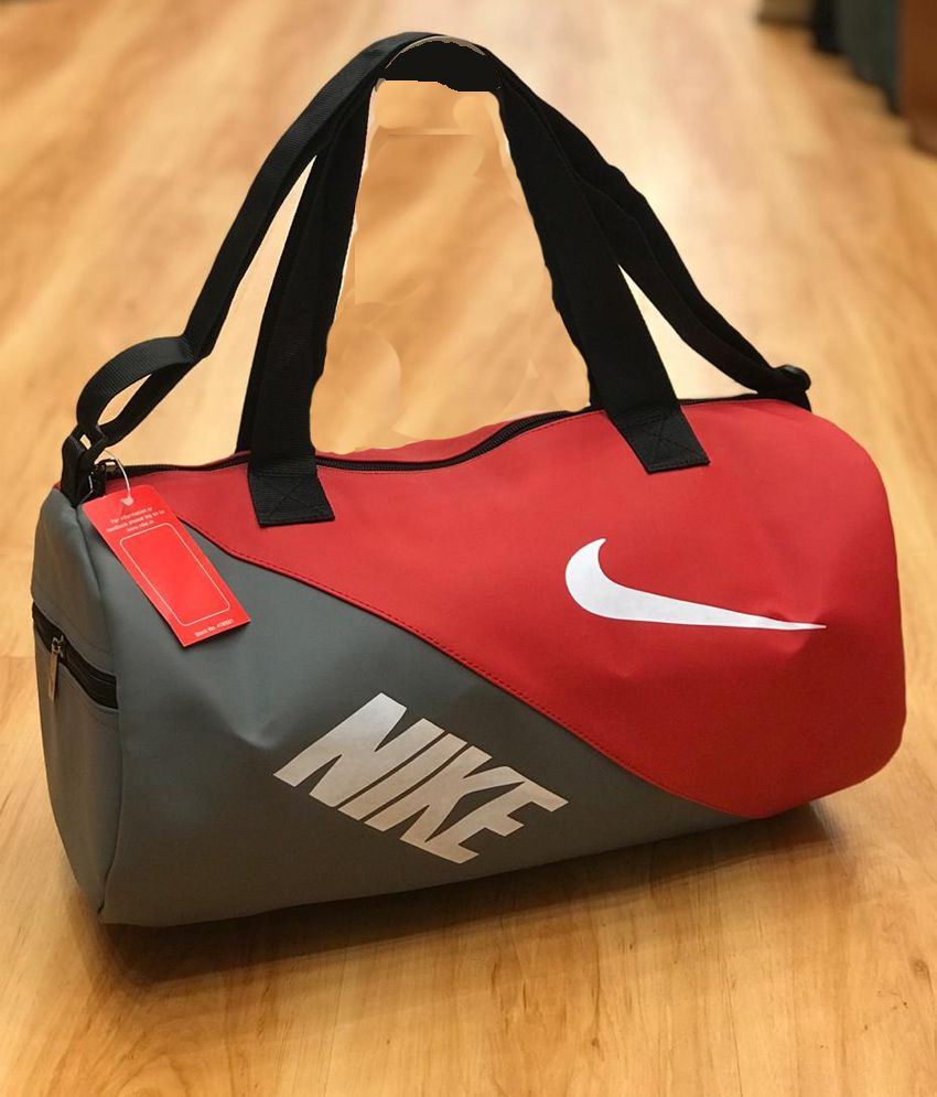 Gym Bag Nike Price: Nike Medium Red Black PU Leather Gym Bag Men Gyms Bags