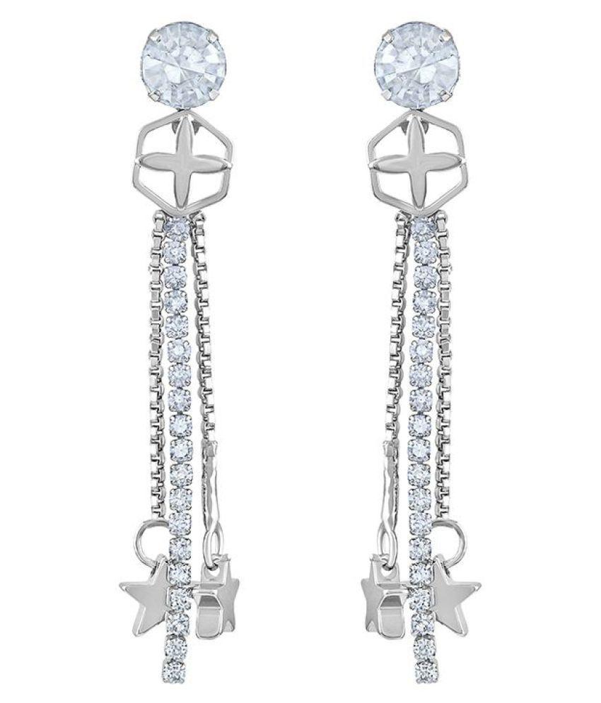 Asmitta Stylish White Stone Rhodium Plated Dangle Earring For Women