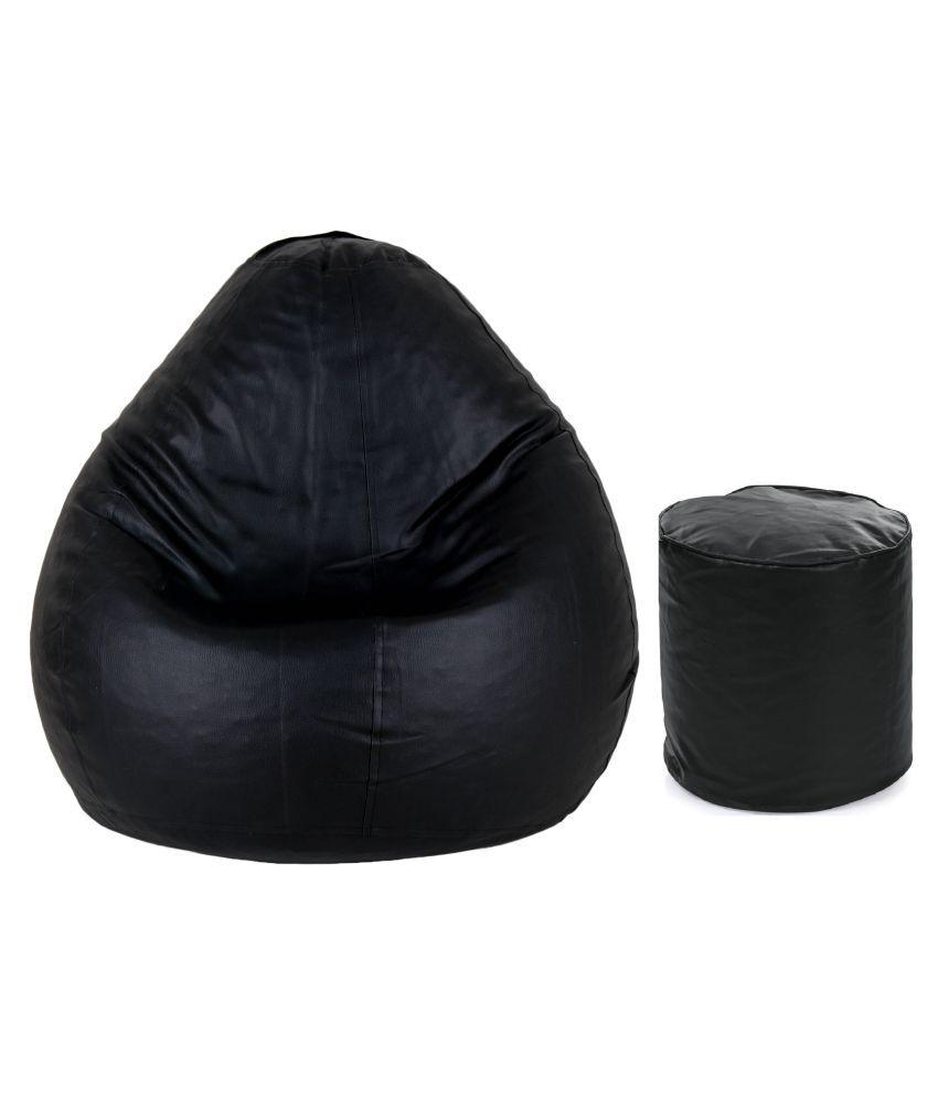 Gunj Large Teardrop  amp; Footstool Combo Bean Bag Cover Black