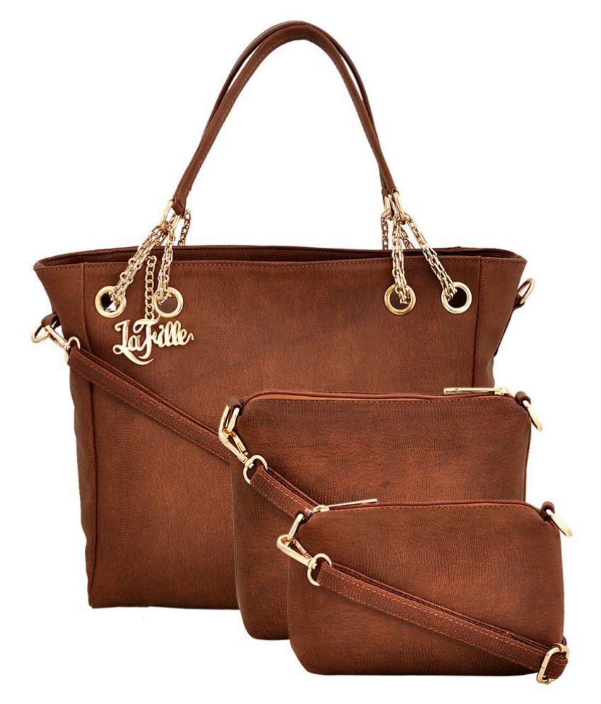 LaFille Tan Faux Leather Combo