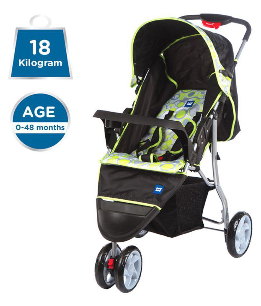 Mee Mee Easy to Push Baby Pram with 3 seating position (Green)