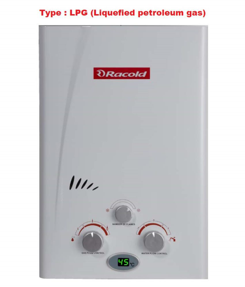 RACOLD GAS GEYSER 6 Ltr (LPG) Gas - Geysers White