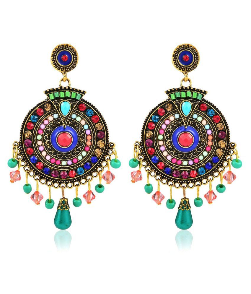 Jewels Galaxy Elegant Design Bohemian High Quality CZ & Pearl Sparkling Gold Plated Traditional Danglers For Women/Girls