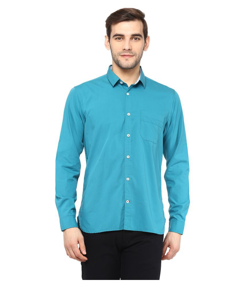 Red Chief 100 Percent Cotton Green Solids Shirt