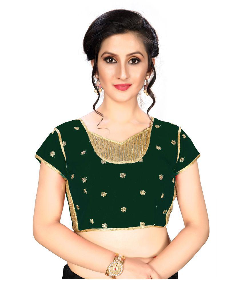 Fab Dadu Green Silk Readymade with Pad Blouse