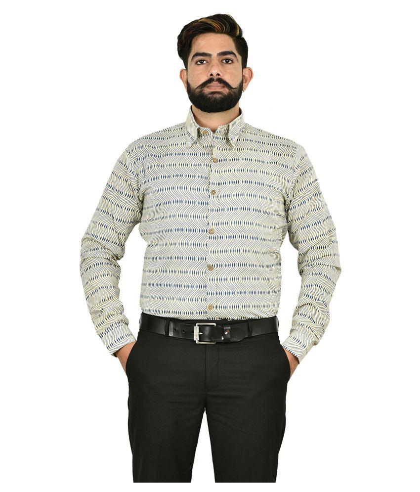 The Fineworld 100 Percent Cotton Off-White Prints Shirt