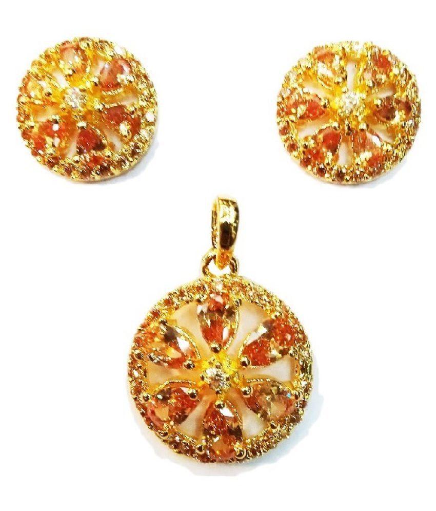Vinayak exotic color C Z pendant set collections (Pear)