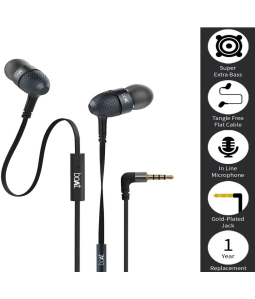 boAt BassHeads 200 Extra Bass In Ear Wired Earphones With Mic Black Earbuds  Ear buds Handsfree