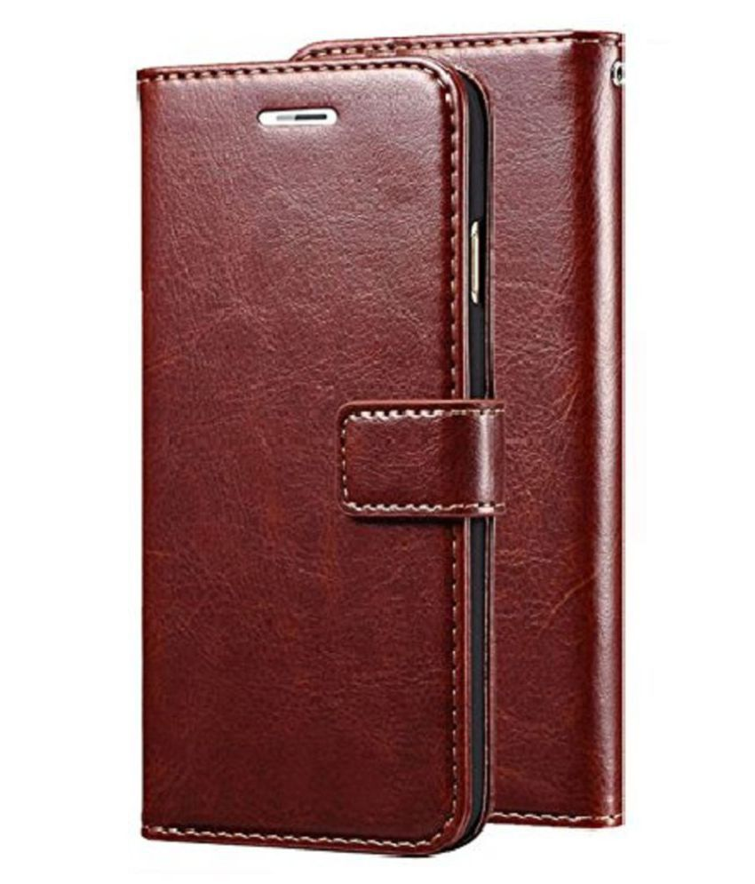 Samsung galaxy A6 Plus Flip Cover by KOVADO - Brown Original Vintage Look Leather Wallet Case