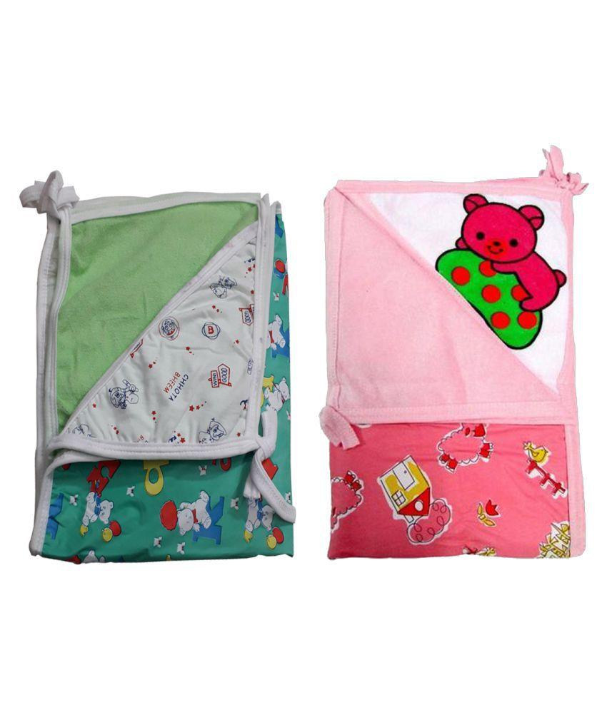 SAASHIKA Multi-Colour Cotton Baby Wrap cum blanket ( 67 cm × 53 cm - 2 pcs)