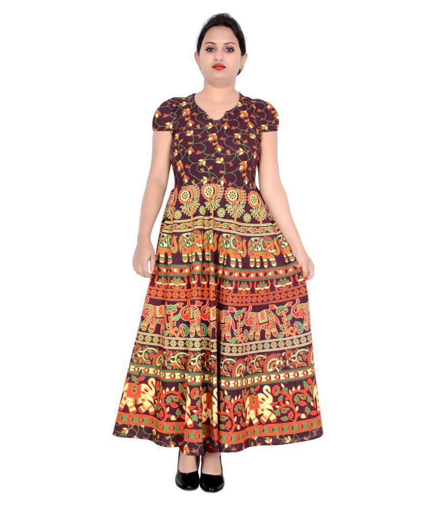 Sttoffa Cotton Brown Fit And Flare Dress