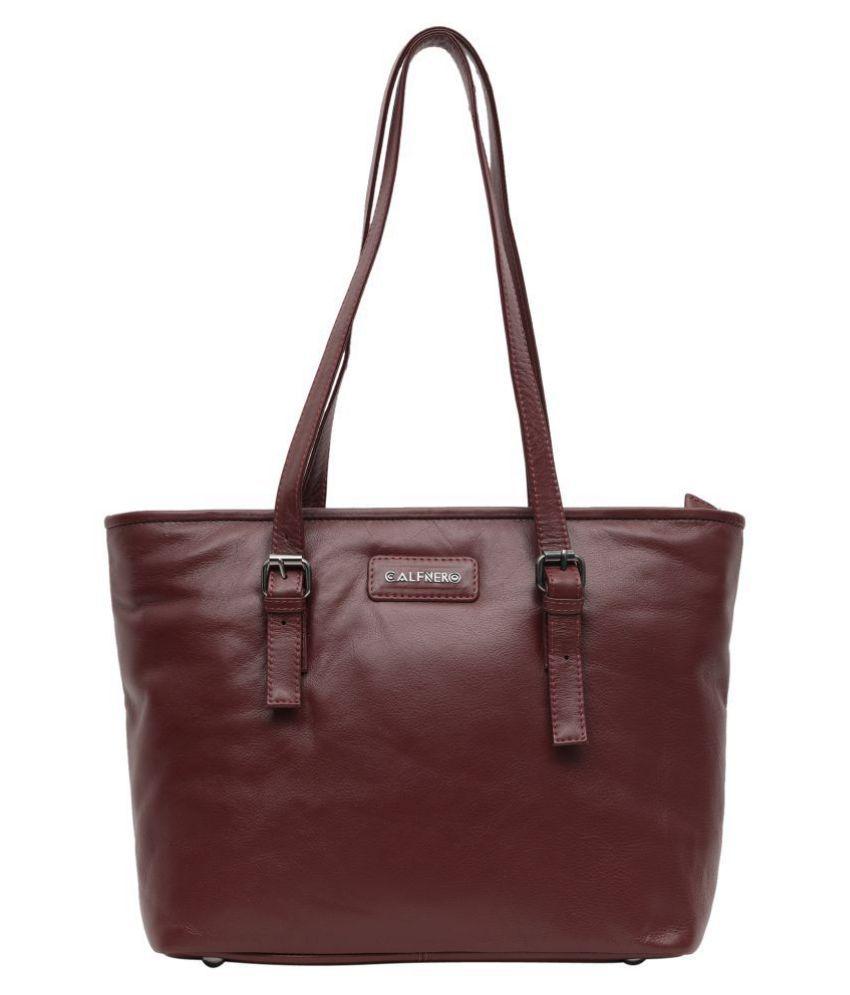 Calfnero Maroon Pure Leather Shoulder Bag