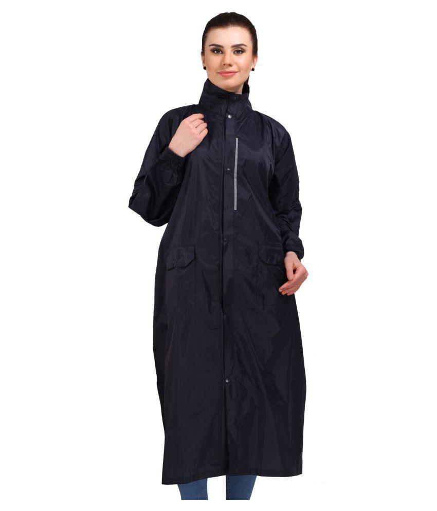 Goodluck Nylon Long Raincoat - Navy