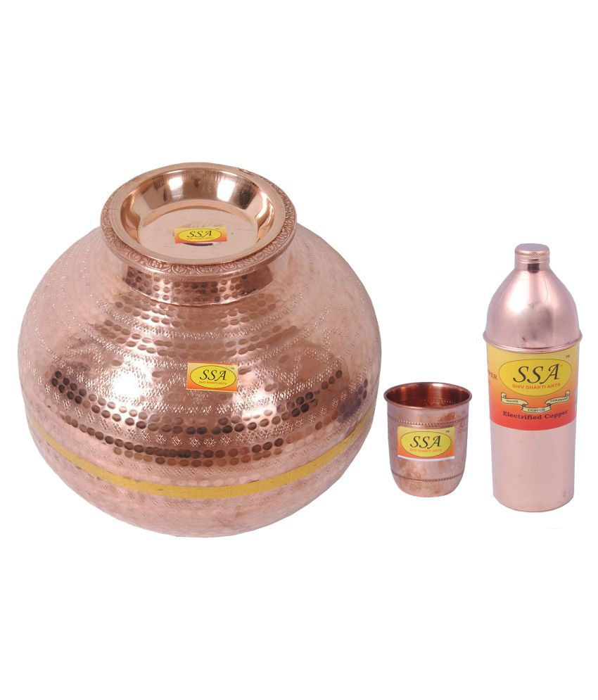 Shiv Shakti Arts Copper Matka 20Litre 3 Pcs Lemon set