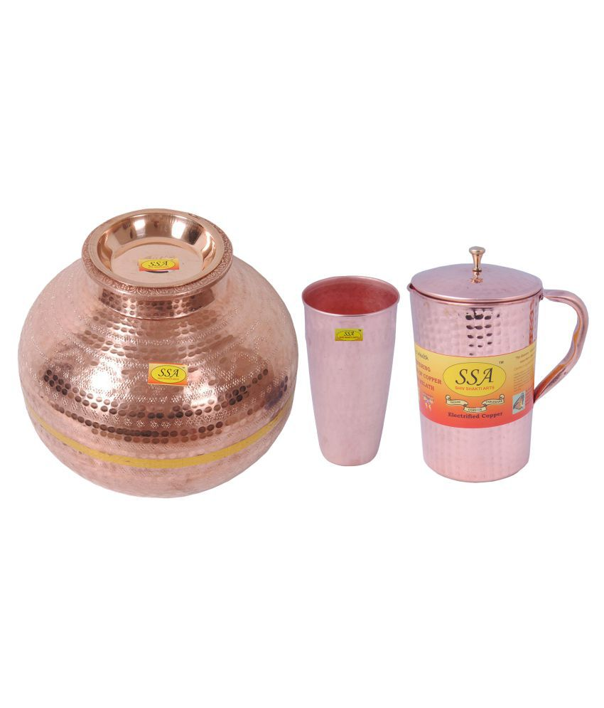 Shiv Shakti Arts Copper Matka 20Litre 3 Pcs Jug and Glass Combo