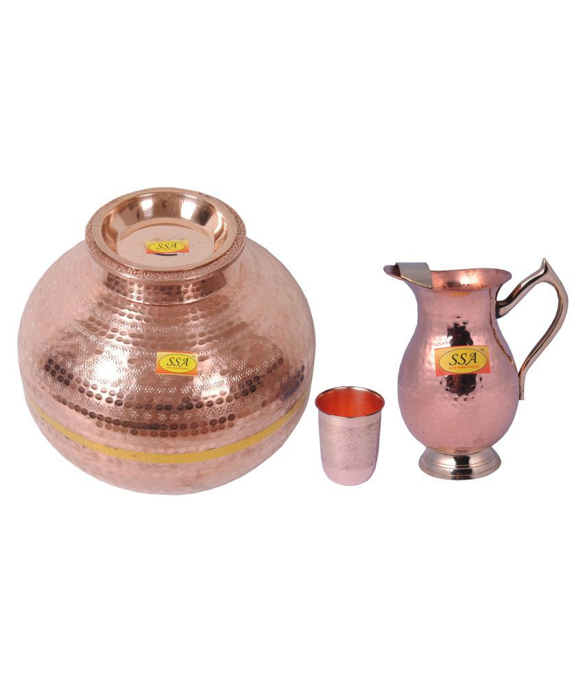 Shiv Shakti Arts Copper Matka 15Litre 3 Pcs Jug and Glass Combo