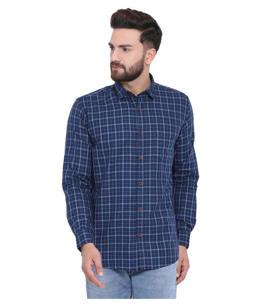Richlook 100 Percent Cotton Blue Checks Shirt
