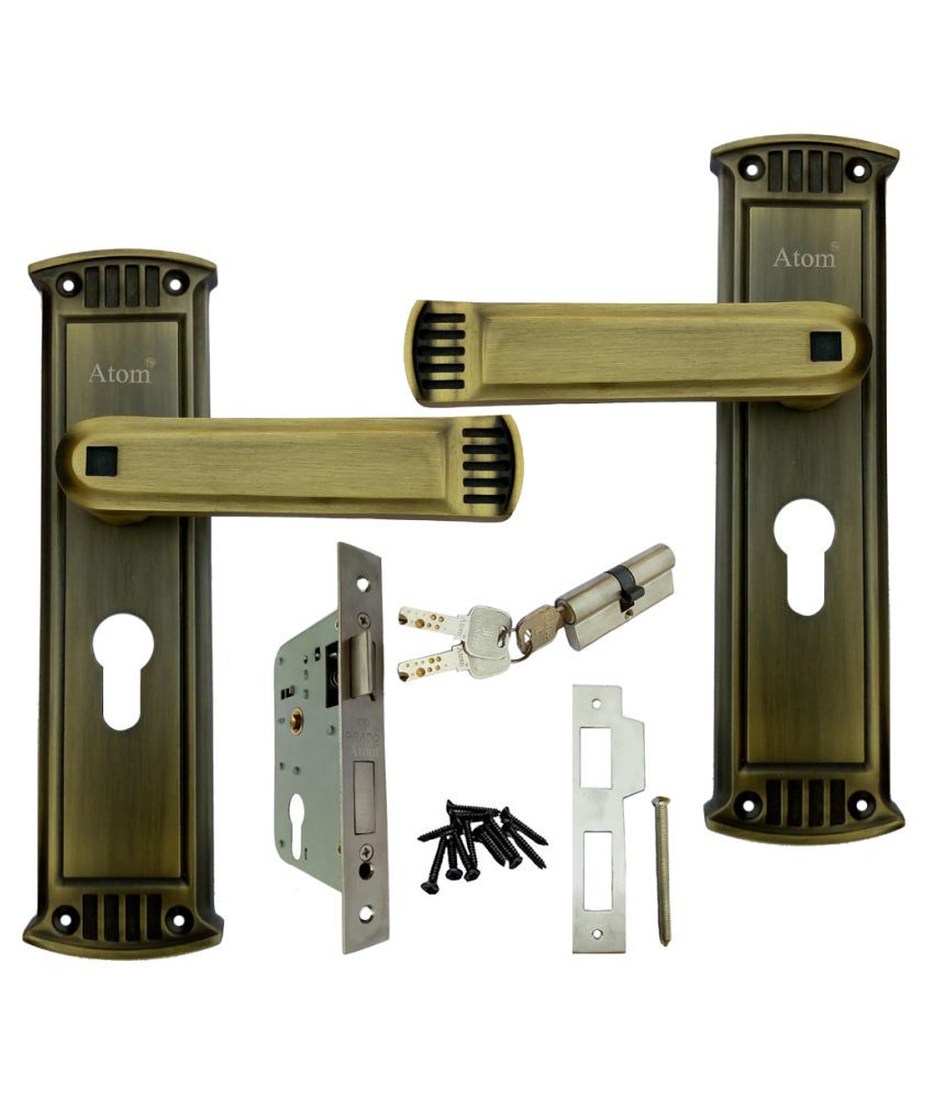 ATOM GLANZA Mortice Handle Set with Both Side Key Cylindrical Lock with 3 Keys Antique