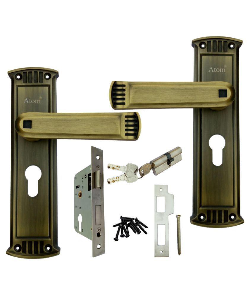 Mortice Handle, Mortice Lock, Door Lock, Lock, ATOM GLANZA Mortice Handle Set with Both Side Key Cylindrical Lock with 3 Keys Antique