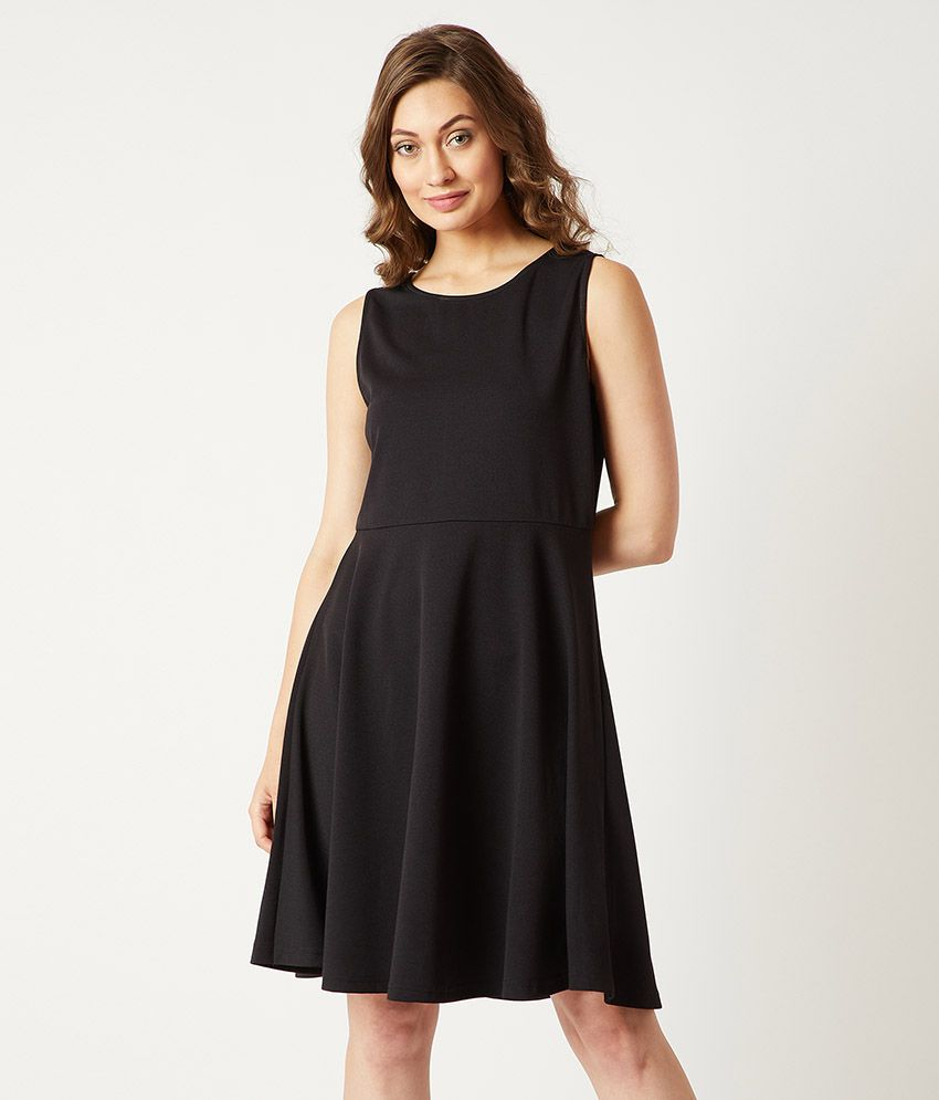 Miss Chase Polyester Black Skater Dress
