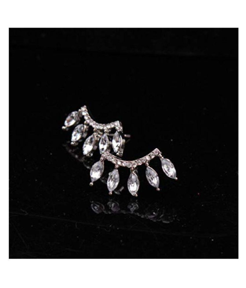Romp Fashion Delicate Golden Crystal Luxury Party Stud Earrings For Girls and Womens.