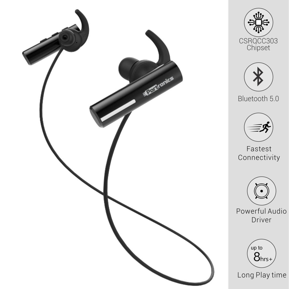 Portronics Harmonics Notes POR 119 In ear Bluetooth 5.0 Wireless Sports Headphone  Black