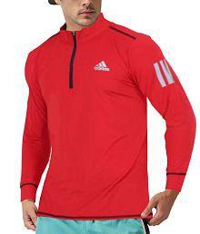 Adidas Red High Neck T-Shirt