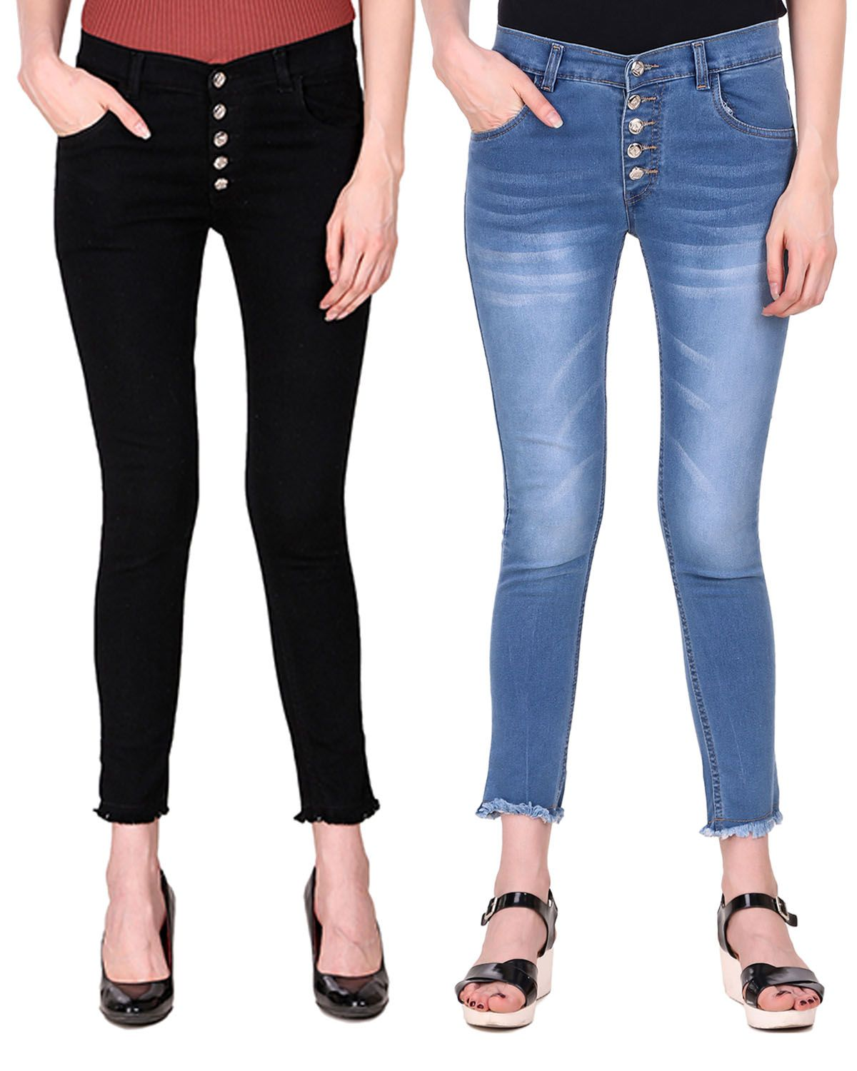 Ansh Fashion Wear Denim Lycra Jeans - Multi Color